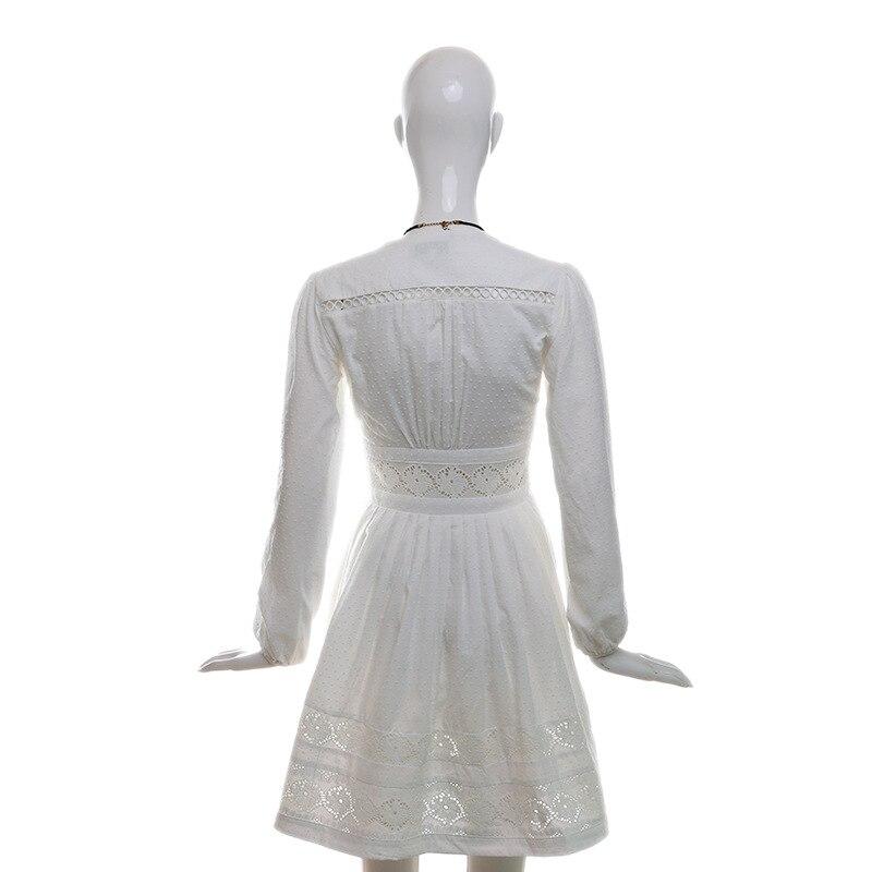 Taille V Col Manches Profond Femme Bikinis Grande Blanc Xl Creux Automne De Lady 2018 Robes Robe Lanterne n0vNm8w
