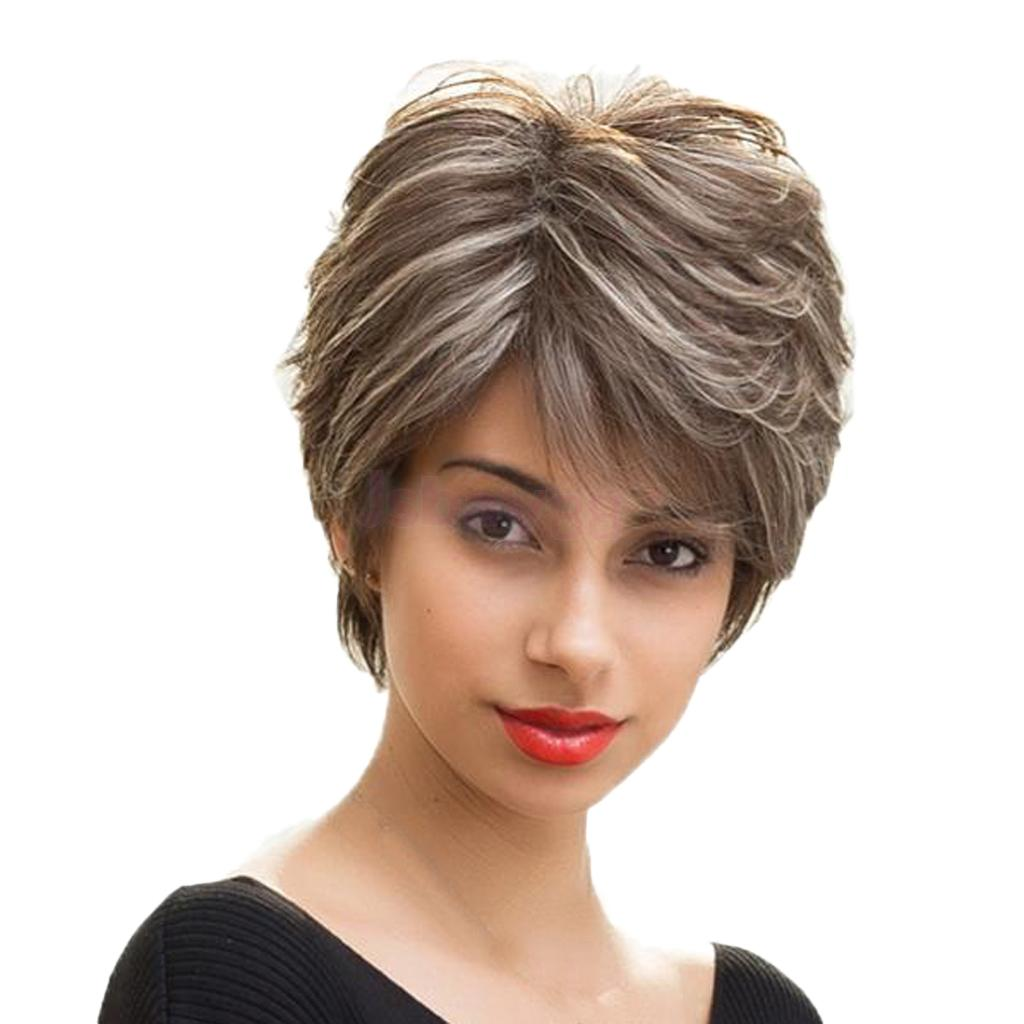 Fashion Human Hair Fluffy Slightly Curly Wavy Women Wigs Short Straight Hair Wig with Grey Highlights stylish short capless side bang synthetic fluffy brown highlight curly bump wig for women