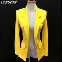 Women Casual Jacket Coat Spring Autumn Winter Fashion Slim Outerwear Red Yellow Blue Female Jackets Clothing
