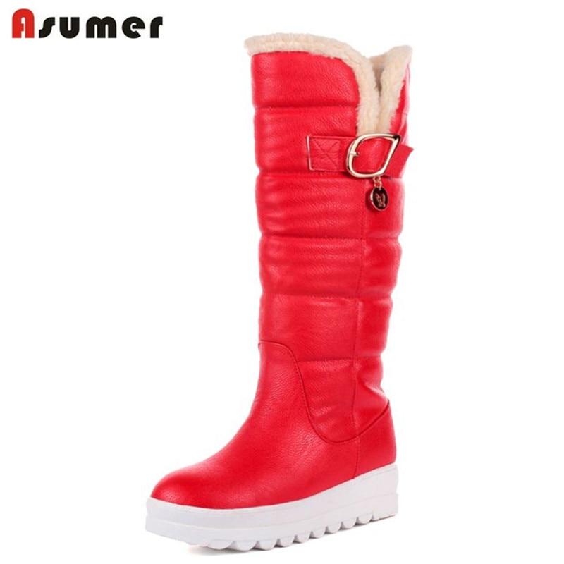 ASUMER/Большой Размер 34–43 до середины икры ботинки с круглым носком на среднем каблуке на платформе Женские ботинки высокое качество искусств...