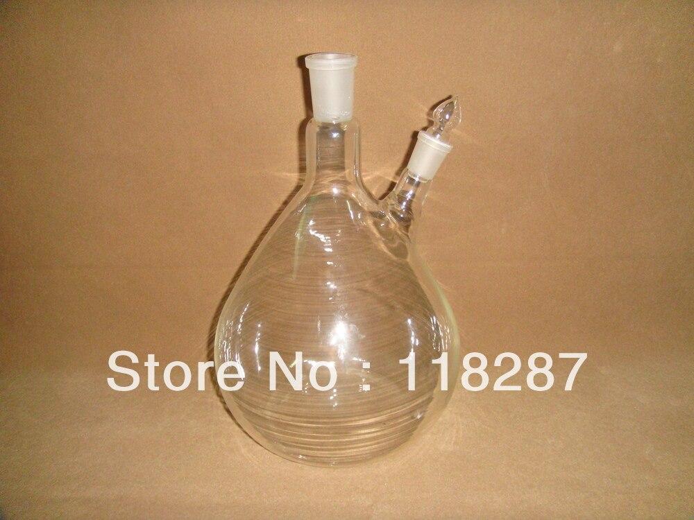 2 шеи 2L дистилляционная колба(используется на аппарате паровой дистилляции эфирного масла), 24/40 основное соединение, боковое соединение 19/26
