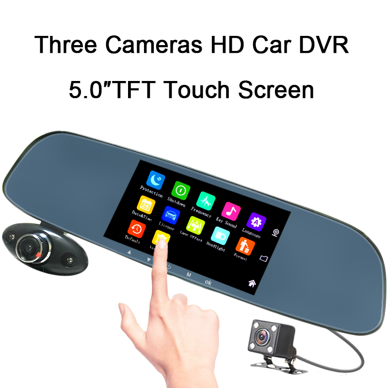 5 inch IPS HD 1080P 3 Lens Touch Screen Dash Cam Driving Recorders Car DVR G-sensor Vehicle Blackbox Night Vision Wide Angle