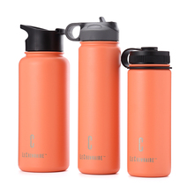 LC outdoor 18oz/22oz/32oz vacuum flask double wall stainless steel insulated water bottle sports straw lid