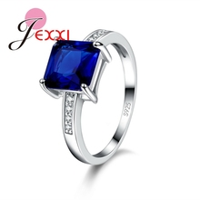 JEXXI Christmas Gift!!Wholesale 925 Starling Silver Rings Charm Jewelry Ring For Ladies With Big Square Cut CZ Diamond Hot