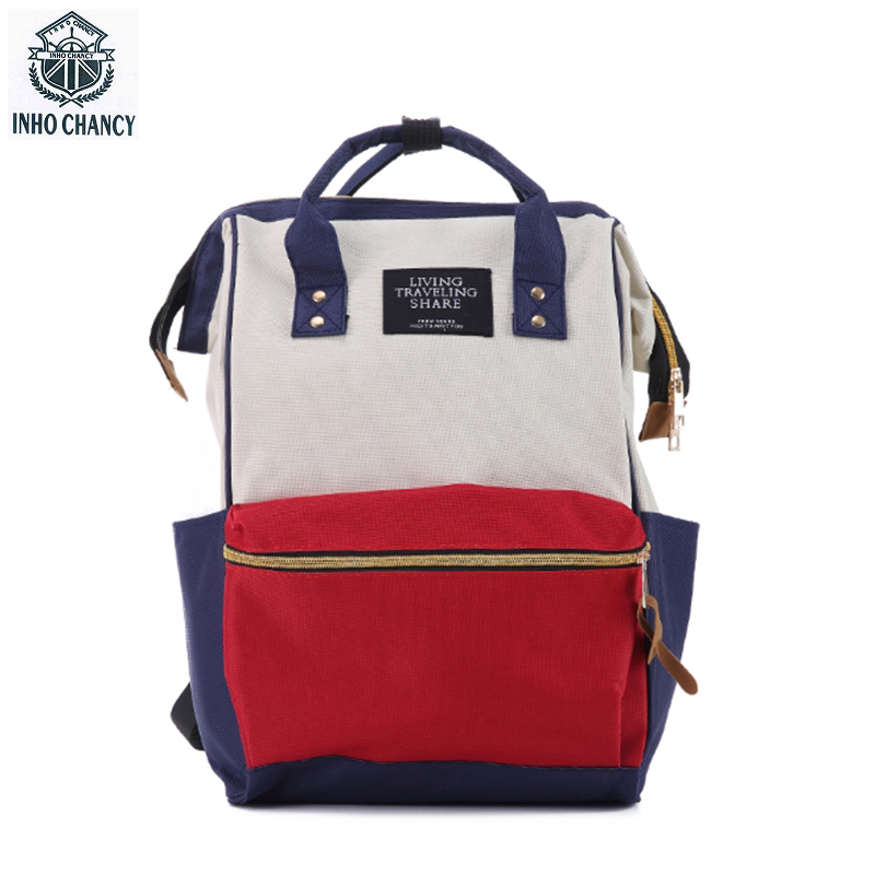 INHO CHANCY Fashion Women Backpack Canvas Female School Bag Large Capacity Travel Rucksack mochila feminina Teenager For Student