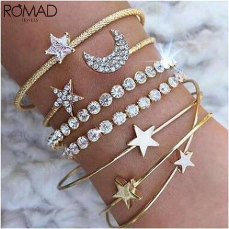 Cheap Sale Romad 4 Pcs/set Retro Charm Simple Moon Star Heart Crystal Elasticity Women Bracelet Sets Party Jewelry Bangles Set For Women R4