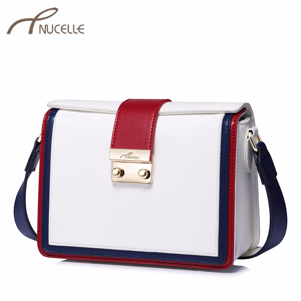 NUCELLE Brand Women's Leather Messenger Bags Ladies Fashion Lock Shoulder Purse Female Strips Panelled Flap Crossbody Bags nucelle brand design vintage luxury leopard with horse coat cow leather women ladies handbag shoulder crossbody flap bags