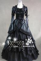 Может быть custom2015 Фирменная Новинка Черный с длинным рукавом викторианской готики платье в стиле «Лолита»/Хэллоуин Косплэй бальное платье 1
