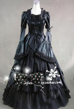Can be custom2015 Brand New Black Long Sleeve Victorian Gothic lolita dress/halloween Cosplay Ball Gown 1 order