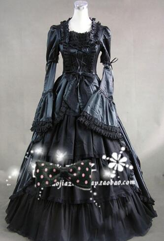 Peut être custom2015 nouvelle robe lolita gothique victorienne à manches longues noire/robe de bal halloween Cosplay 1 commande