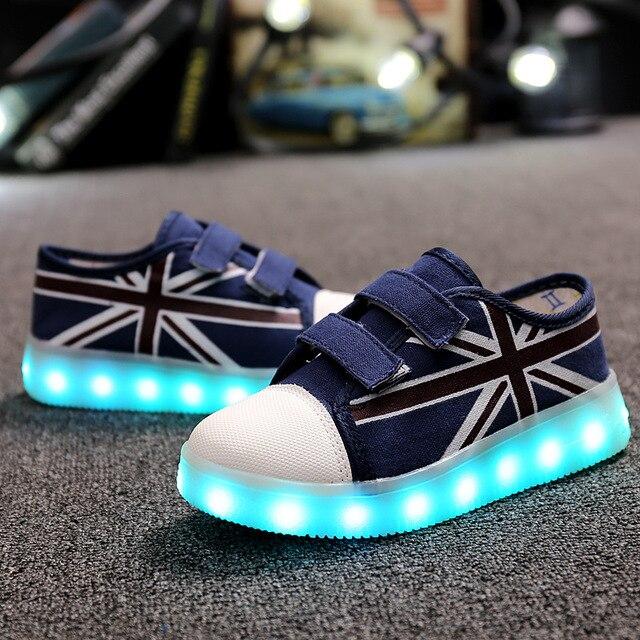 36ed7c8ac3 Verão Crianças Levaram Sapatos Tenis Infantil Lâmpada Led com USB de  Carregamento colorido Crianças Iluminar Sapatos