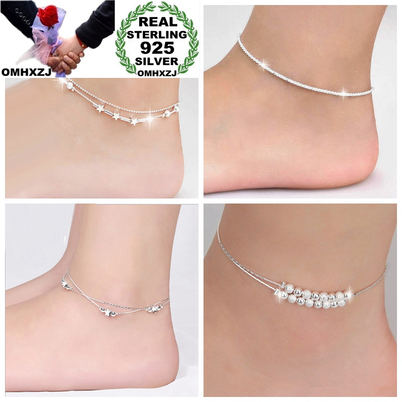 925-Sterling-Silver Anklet Woman Star Two-Layers Beads Birthday-Gift Party OMHXZJ Girl