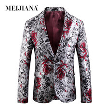 MEIJIANA Fashion Blossoms Print Romantic Blazers Men Plus Size US 5XL Male Suit Jacket Casual Slim Spring Autumn Coat(China)