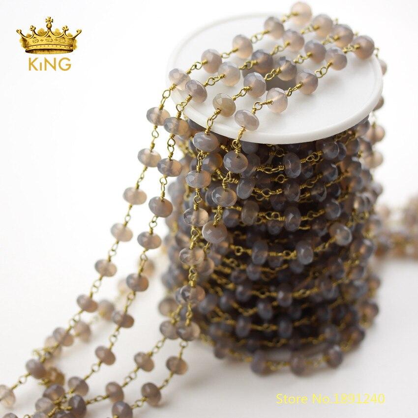 5 mètres naturel gris Achate coupé Rondelle perles chaînes Findingss en vrac, 5x8mm facettes Agates fil enroulé pierre chapelet chaînes ZJ231