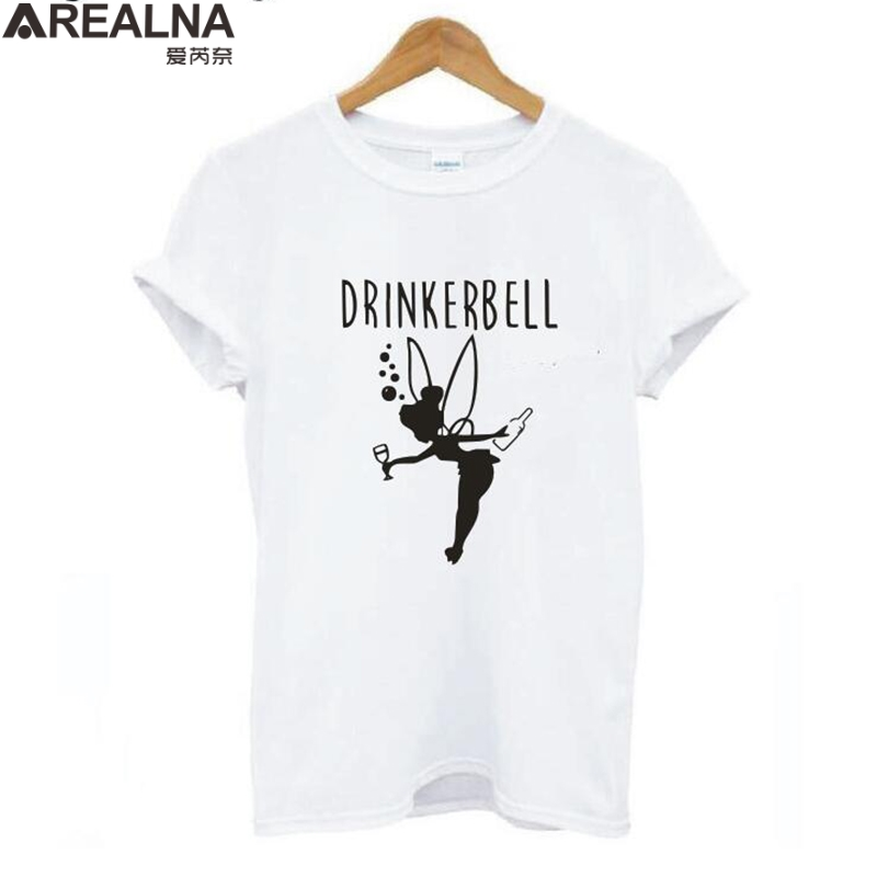Vogue T Shirt Women 2020 Drinkerbell Letter Printed Plus Size Funny T Shirts Women Cotton Short Sleeve Harajuku Tee Shirt Femme