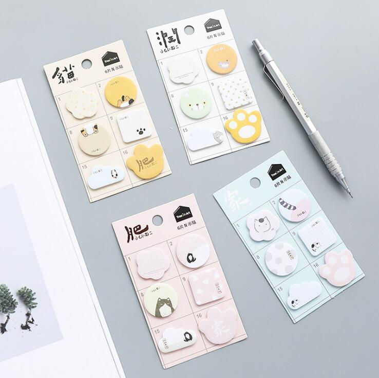 Creative Cat Mark Self-Adhesive Memo Pad Sticky Notes Bookmark School Office Supply