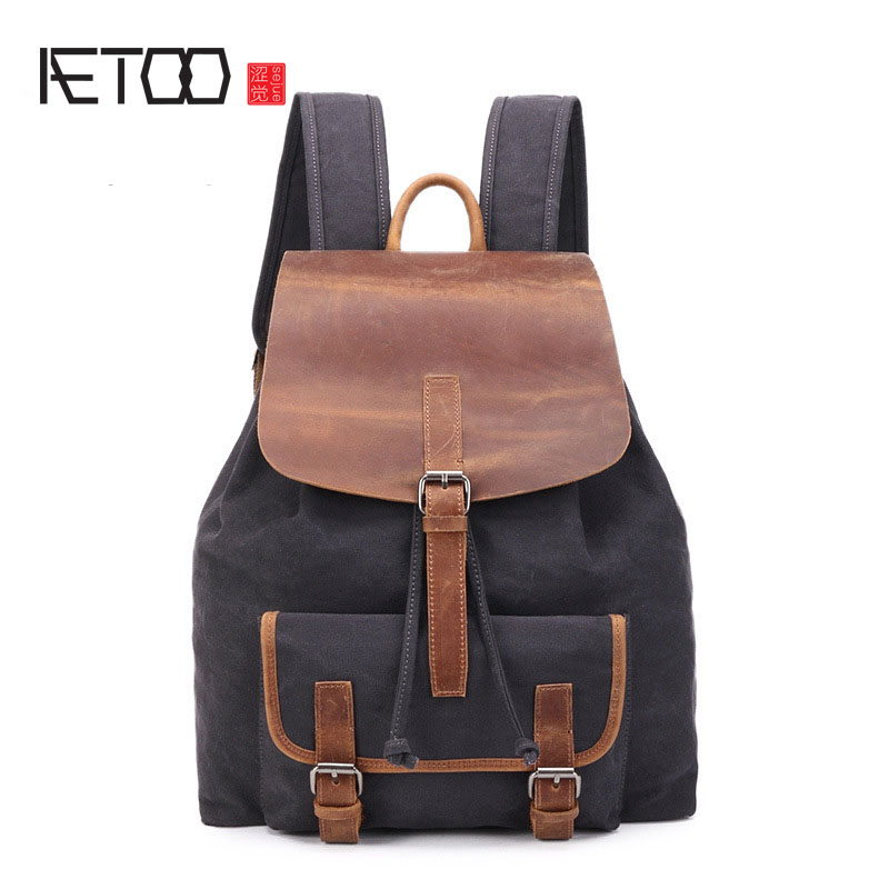 AETOO Canvas bag retro shoulder bag crazy horse leather canvas travel backpack aetoo new front cowhide retro leather shoulder bag men travel backpack europe and the united states crazy horse leather