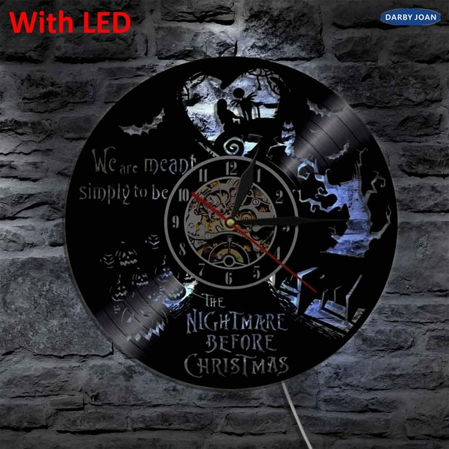 the nightmare before christmas handmade vinyl clock led wall light remote control led backlight cool living - Nightmare Before Christmas Clock