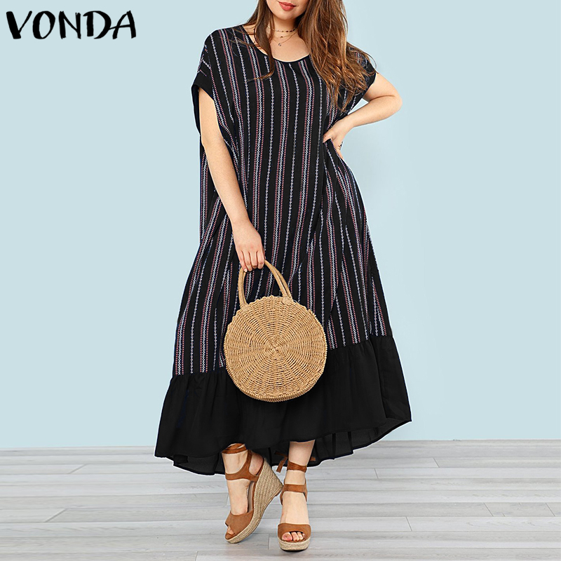 VONDA Women Striped Maxi Long Dresses 2018 Summer Bohemian Casual Loose O Neck Batwing Sleeve Ruffles Hem Plus Size Vestidos 5XL