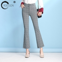 ORDEESON 5xl 6XL Flare Pants High Waist Pants Gingham Spring 2018 Fashion Woman Plus Size Clothing Bell Bottom Flared Trousers