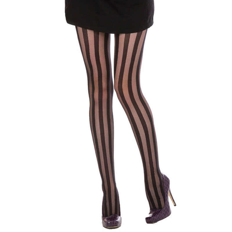 2d7d2296a12 2016 New Arrival Women Gothic Punk Sexy Vertical Stripe Pantyhose Stockings  Tights Girl Beauty Black Pants