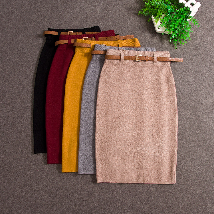Fashion Skirts Autumn Winter Casual Women High Waist Knee-length Knitted Pencil Skirt Elegant Slim Long Skirts 2018