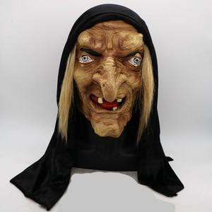Image 1 - 怖い大人歳魔女マスクラテックス不気味なハロウィン仮装しかめっ面パーティー衣装アクセサリーコスプレ小道具大人ワンサイズ