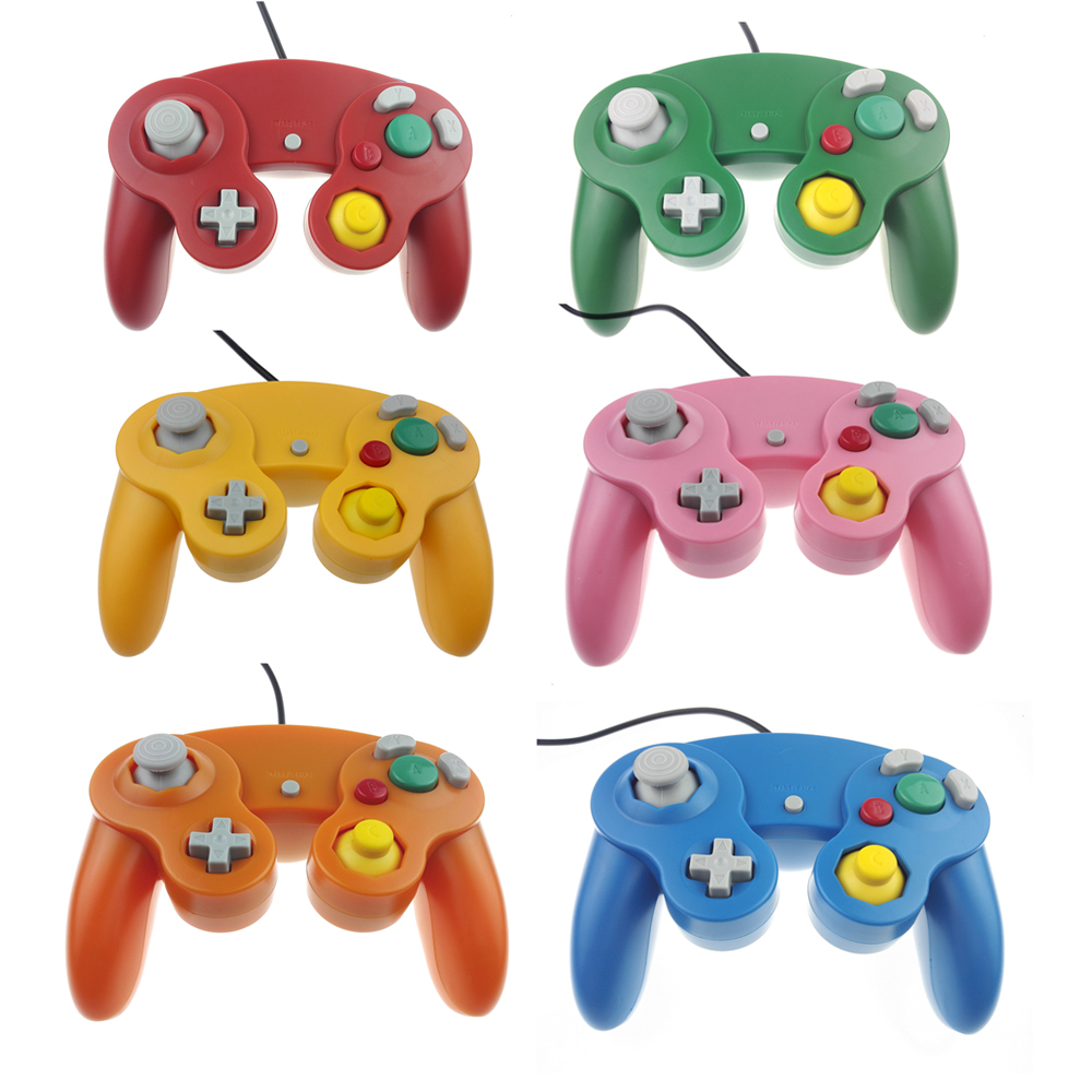 With tracking number Wired Game Controller Gamepad for N GC Joystick With One Button for GameCube for Wii джойстик wii ngc ngc gamecube controller