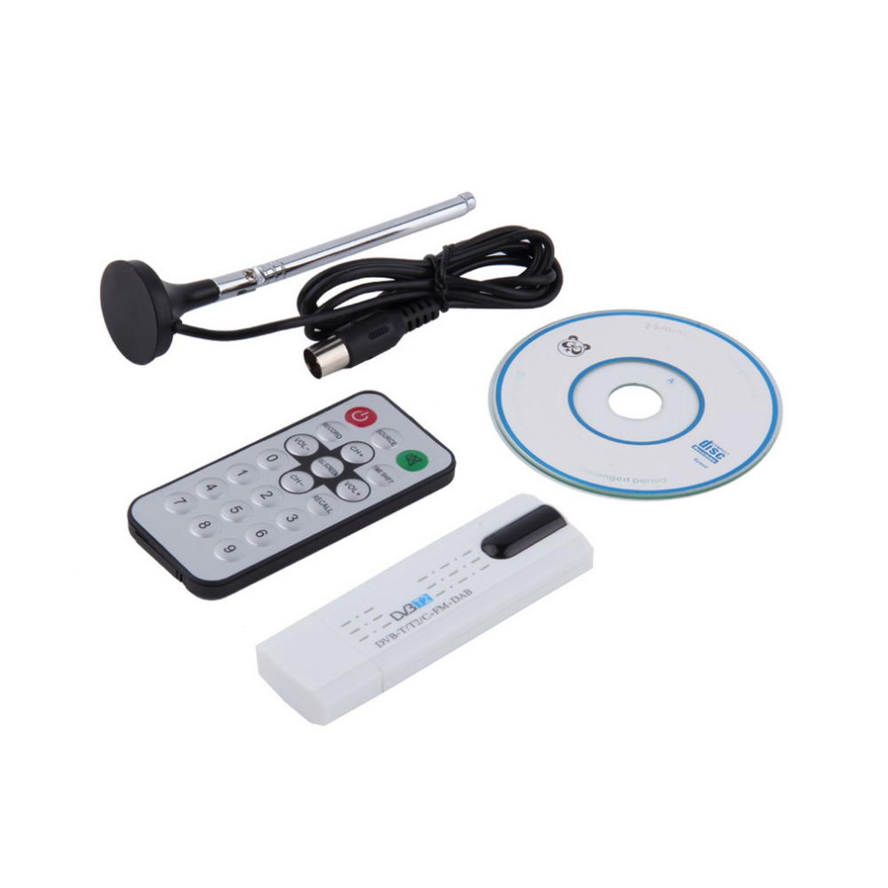 Digital DVB-T2/T DVB-C USB 2.0 TV Tuner Stick HDTV Receiver with Antenna Remote Control HD USB Dongle PC/Laptop for Windows ...
