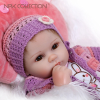 NPKCOLLECTION 40CM Reborn Baby Doll Realistic Soft silicone Reborn Babies Girl Adorable Bebe Kids Brinquedos boneca Toy Gifts