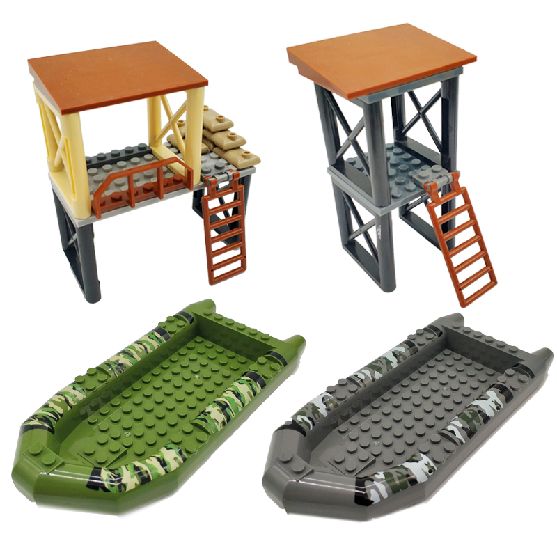 Military Soldier Mini Boat Watchtower Compatible Building Blocks Fits Figures