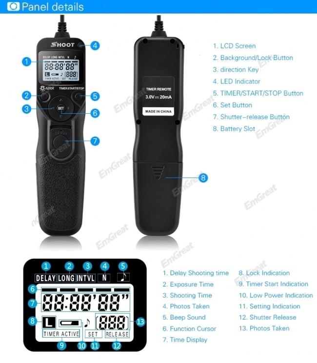 US $13 94 10% OFF|Shoot RS 60E3 Selfie Timer Remote Control Shutter Release  Cable TC C1 for Canon EOS 60D 70D 700D 600D 650D 750D 760D 550D G10-in