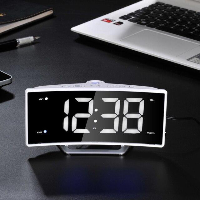 Mirror Electronic LumiNova  Clock Charging Temperature Desk Watch Gadgets White Shell  Light Radio Projection Alarm Clock LED