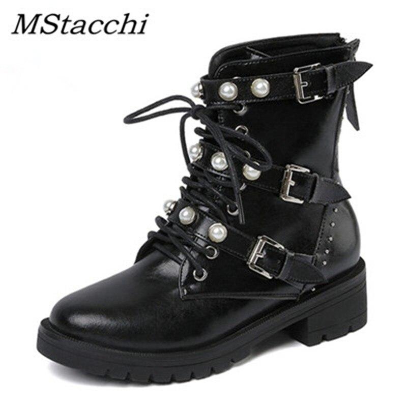 MStacchi nouvelles femmes Rivet bottes en cuir véritable bottes perle femme chaussures boucle décontracté bottes chaussures femme bottines Botas Mujer - 6