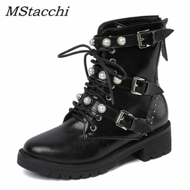 MStacchi yeni kadın perçin çizmeler hakiki deri çizmeler inci kadın ayakkabı rahat toka bot ayakkabı kadın yarım çizmeler Botas Mujer