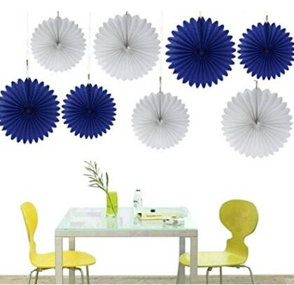 Us 17 99 Tissue Paper Fan Collection 8 Orted Fans White Royal Blue Party Background Wall Decor Wedding Baby Shower In Diy