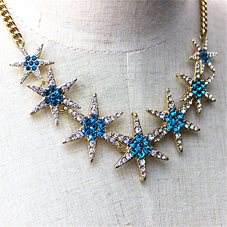 The new hit 2017 gorgeous women accessories wholesale girl girls birthday party star type necklace gift shipping agent