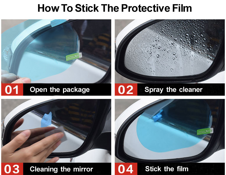 2Pcs Car Rear Mirror Protective Film Rainproof Anti Fog Anti Glare Auto Anti Mist Window Film Rearview Mirror Clear Foil-11