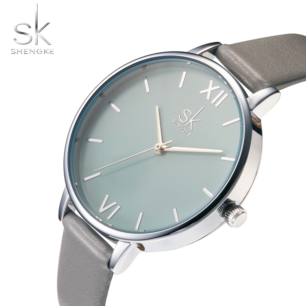 Shengke Women Watches Luxury Leather Strap Quartz Ladies Watch Simple Fashion Female Bracelet Wristwatch Clock Relogio Feminino relogio feminino sinobi watches women fashion leather strap japan quartz wrist watch for women ladies luxury brand wristwatch