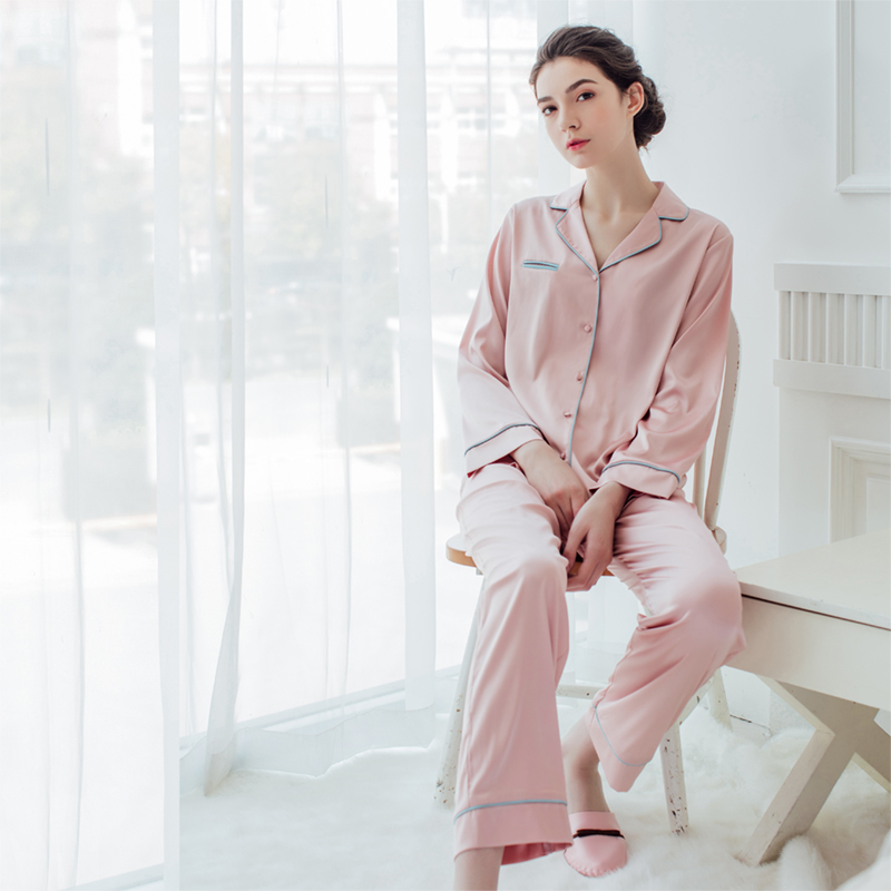 Women and Men Autum and Spring Luxury Polyester Faux Silk Satin Sleepwear  Home Wear Loungewear pajama Sets with Long Pants-in Pajama Sets from Women s  ... 31669ae49