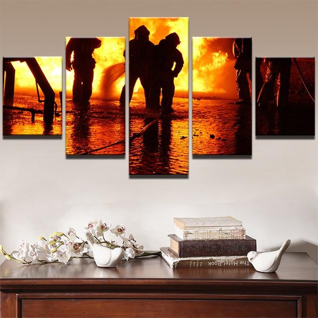 HD Printed Canvas Poster Frame Home Decor 5 Panel Fireman Firefighting  Living Room Wall Art Painting