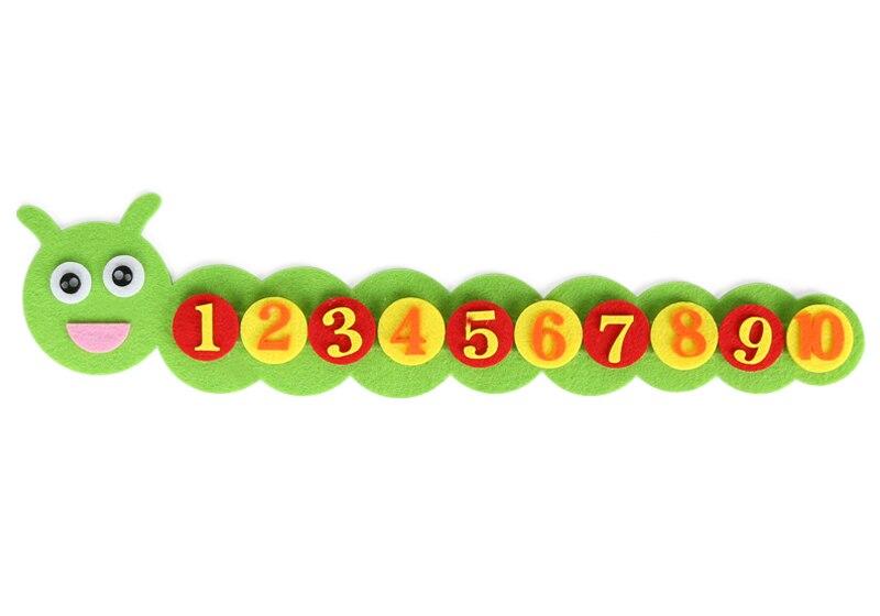 1-10 Монтессори обучающая игрушка для детей головоломка ручной работы DIY игрушка детский сад морковь яблоко дерево матч Цифровое обучение GYH - Цвет: Cater pillar