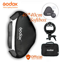 Godox 40*40cm Softbox with S type Handheld Flash Speedlite Bracket + Bowens Mount and Carrying Bag For Canon Sony Nikon Camera