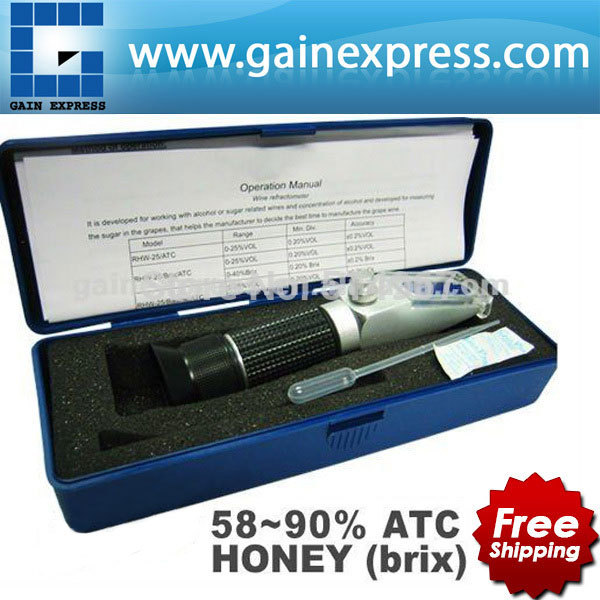 ФОТО New Design Handy Portable 58-90% Brix Honey Handheld Refractometer Baume Beekeeping Bees with ATC + Built-in Calibration Knob