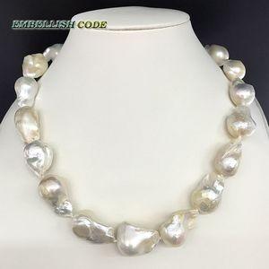 Image 1 - 販売のウェル白色色大サイズの有核炎ボール形状バロックパールネックレス淡水 100% 天然真珠