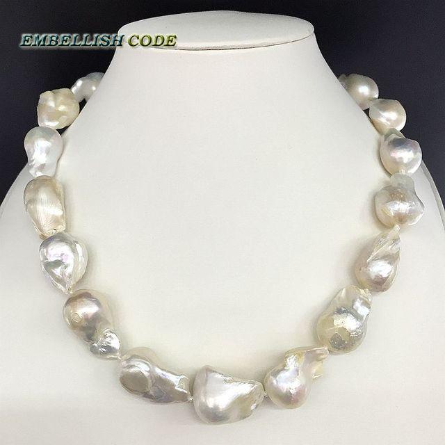 販売のウェル白色色大サイズの有核炎ボール形状バロックパールネックレス淡水 100% 天然真珠