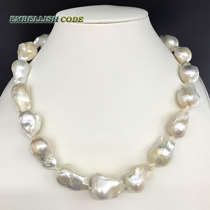 Selling well white color large size tissue nucleated flame ball shape baroque pearl necklace freshwater 100% natural pearls 16 inches 14x18mm natural white nucleated large baroque pearls loose strand