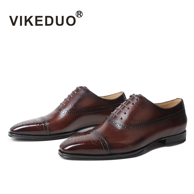VIKEDUO 2019 Fashion Full Brogue Dress Shoes For Men Square Genuine Leather Shoe Oxford Mans Footwear Wedding Office Formal Shoe