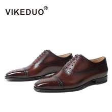 VIKEDUO 2019 Fashion Full Brogue Dress Shoes For Men Square Genuine Leather Shoe Oxford Mans Footwear Wedding Office Formal Shoe цена