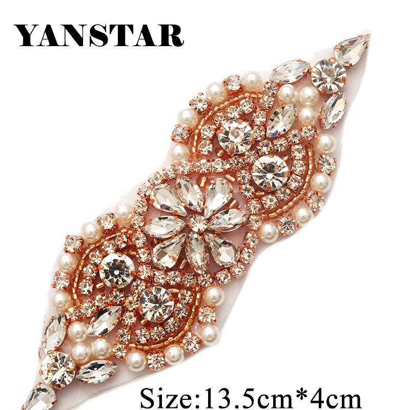 YANSTAN 30 Pieces Rhinestones Appliques Accessory For Wedding Belt Rose Gold Clear Crystal Beads Sewing On
